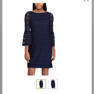 Chaps Navy Bell Sleeve Lace Shift Dress- Size 4